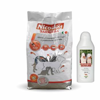 OFFERTA NICO DOG BARRIERA  SACCO 15 KG + SHAMPOO ANTIPARASSITARIO  BAYER 250 ML